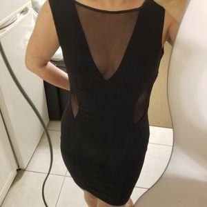 Dresses & Skirts - 😍sexy😍 black mini dress v mesh & side cut outs